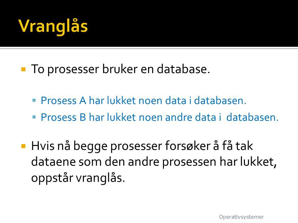  To prosesser bruker en database.  Prosess A har lukket noen data i databasen.