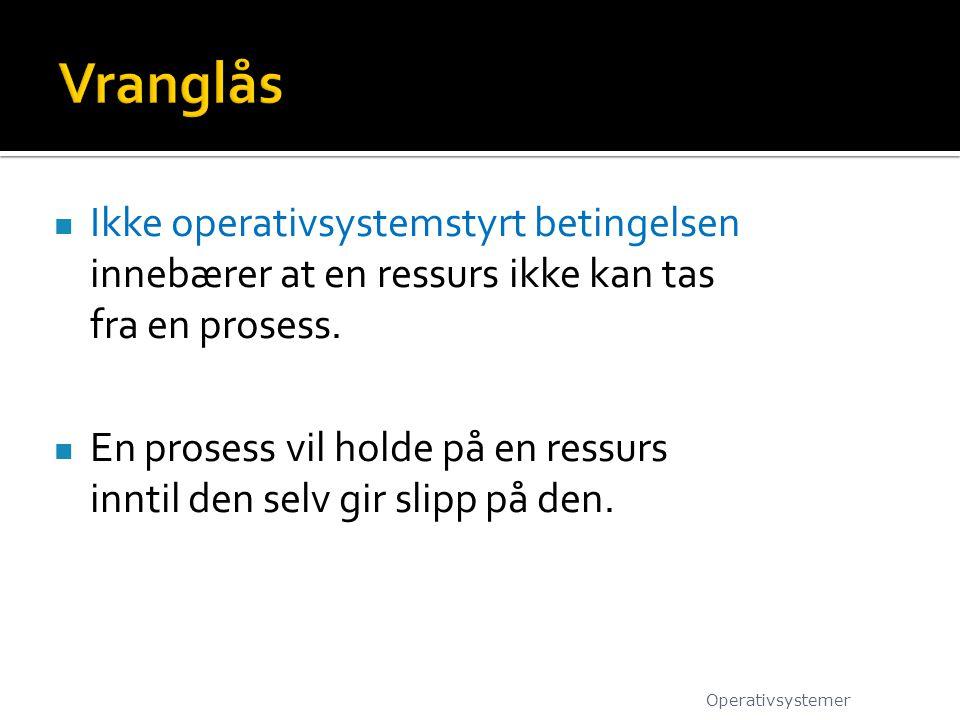 Ikke operativsystemstyrt betingelsen innebærer at en ressurs ikke kan tas fra en prosess.