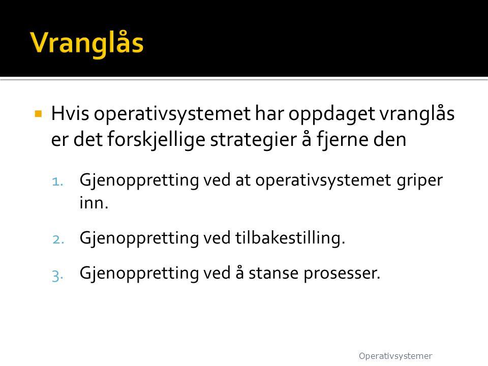  Hvis operativsystemet har oppdaget vranglås er det forskjellige strategier å fjerne den 1.