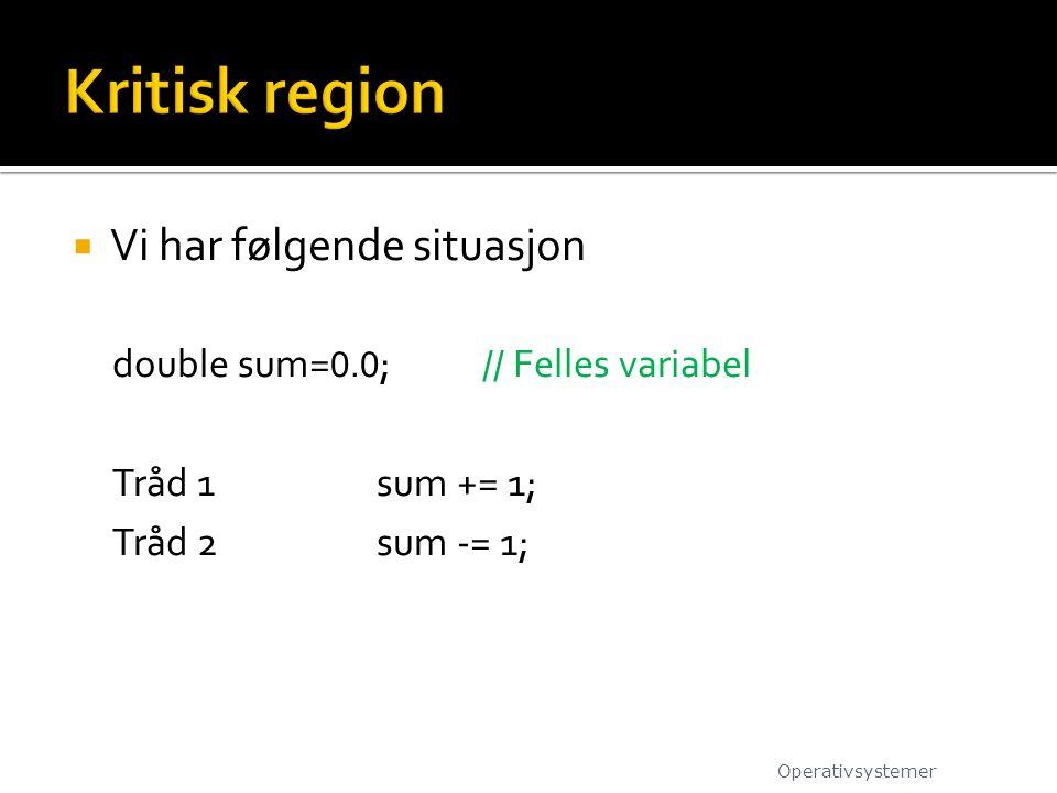  Vi har følgende situasjon double sum= 0.0 ;// Felles variabel Tråd 1sum += 1; Tråd 2sum -= 1; Operativsystemer