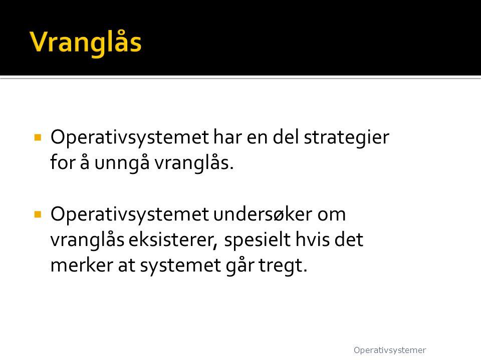  Operativsystemet har en del strategier for å unngå vranglås.