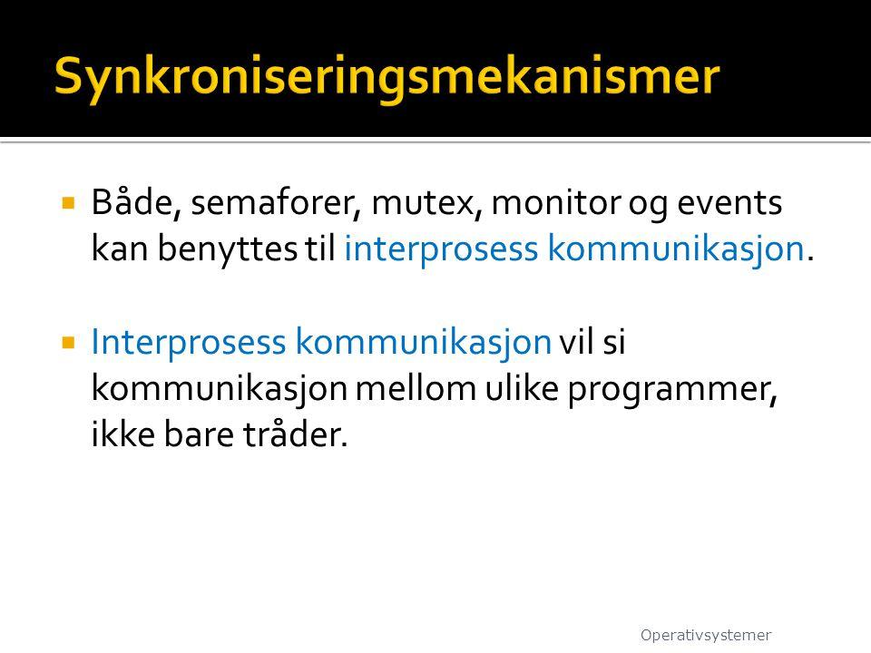  Både, semaforer, mutex, monitor og events kan benyttes til interprosess kommunikasjon.