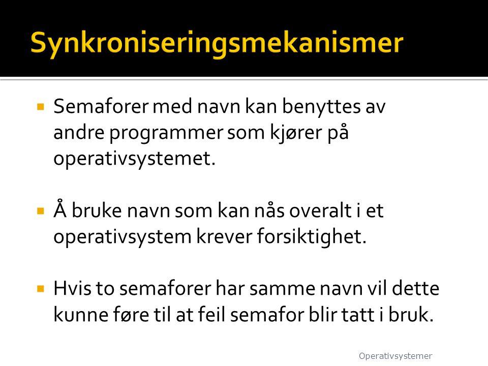  Semaforer med navn kan benyttes av andre programmer som kjører på operativsystemet.