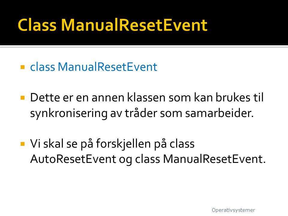  class ManualResetEvent  Dette er en annen klassen som kan brukes til synkronisering av tråder som samarbeider.