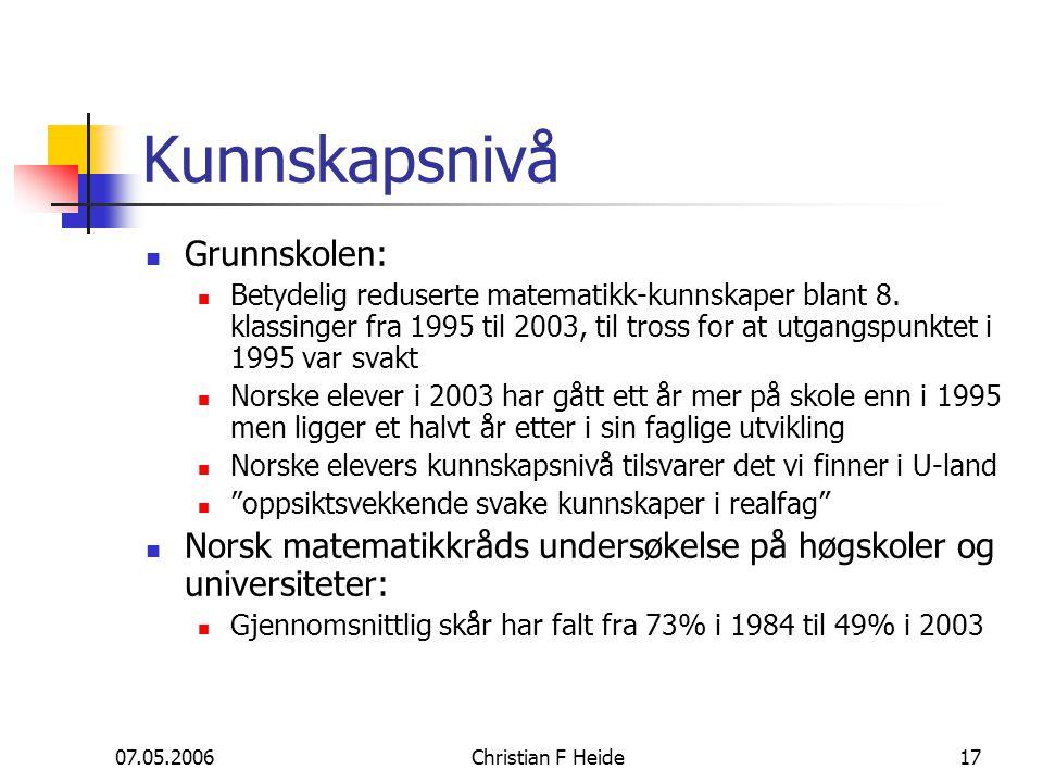 07.05.2006Christian F Heide17 Kunnskapsnivå Grunnskolen: Betydelig reduserte matematikk-kunnskaper blant 8. klassinger fra 1995 til 2003, til tross fo
