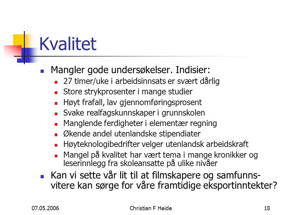07.05.2006Christian F Heide18 Kvalitet Mangler gode undersøkelser. Indisier: 27 timer/uke i arbeidsinnsats er svært dårlig Store strykprosenter i mang