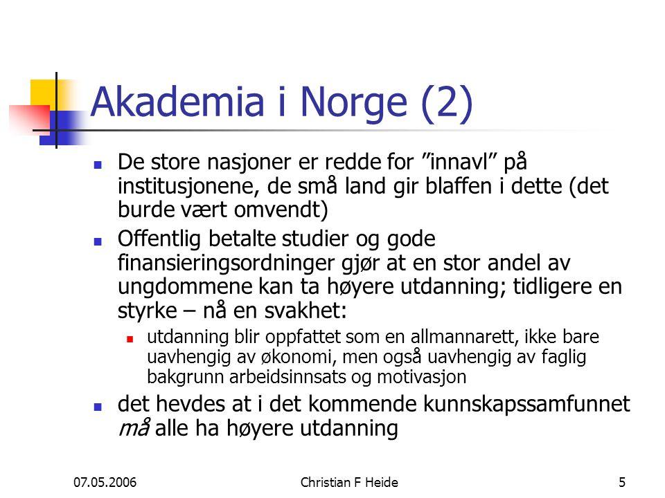 """07.05.2006Christian F Heide5 Akademia i Norge (2) De store nasjoner er redde for """"innavl"""" på institusjonene, de små land gir blaffen i dette (det burd"""