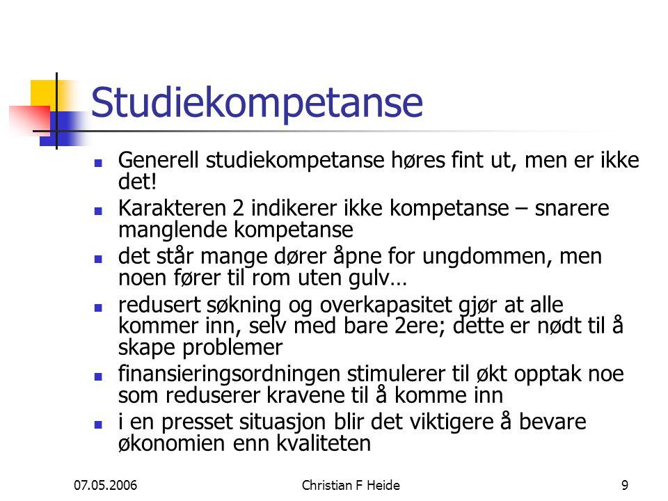 07.05.2006Christian F Heide9 Studiekompetanse Generell studiekompetanse høres fint ut, men er ikke det! Karakteren 2 indikerer ikke kompetanse – snare