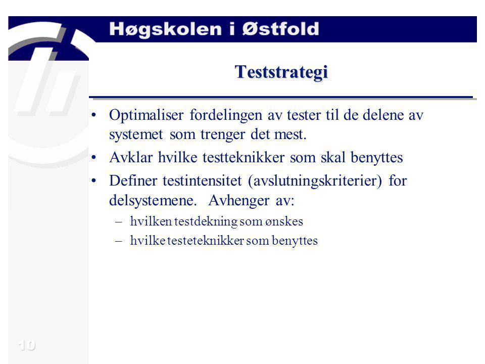 10 Teststrategi Optimaliser fordelingen av tester til de delene av systemet som trenger det mest. Avklar hvilke testteknikker som skal benyttes Define
