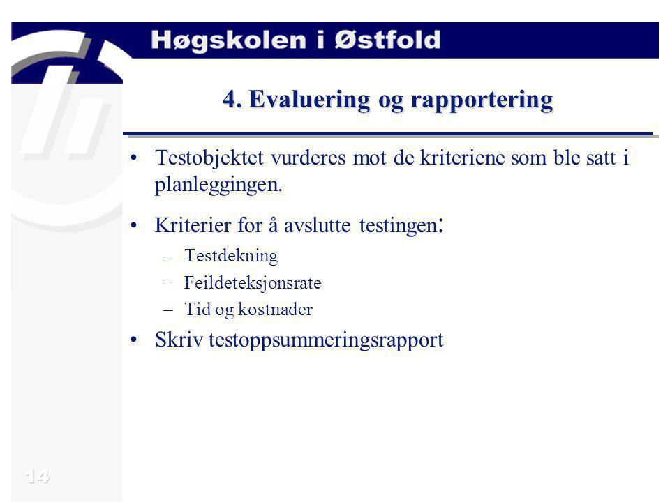 14 4. Evaluering og rapportering Testobjektet vurderes mot de kriteriene som ble satt i planleggingen. Kriterier for å avslutte testingen : –Testdekni
