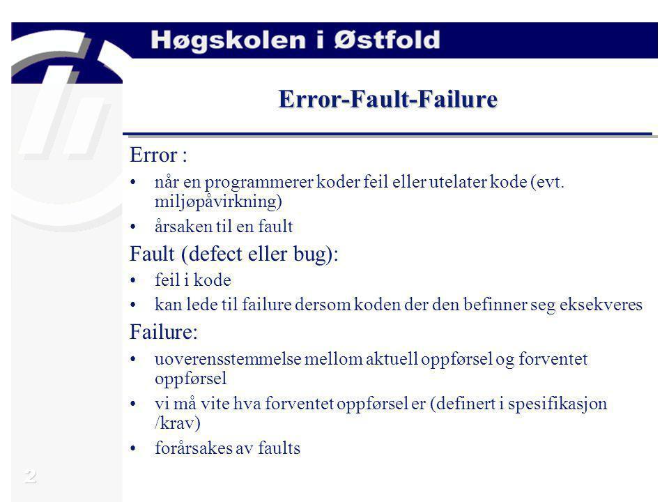 2 Error-Fault-Failure Error : når en programmerer koder feil eller utelater kode (evt. miljøpåvirkning) årsaken til en fault Fault (defect eller bug):
