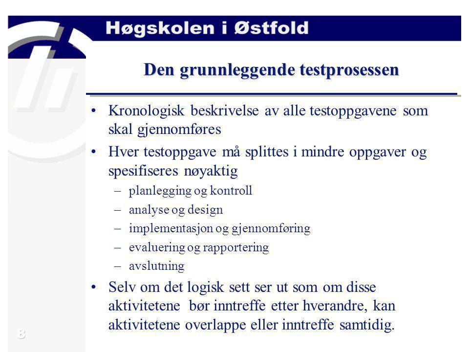 8 Den grunnleggende testprosessen Kronologisk beskrivelse av alle testoppgavene som skal gjennomføres Hver testoppgave må splittes i mindre oppgaver o