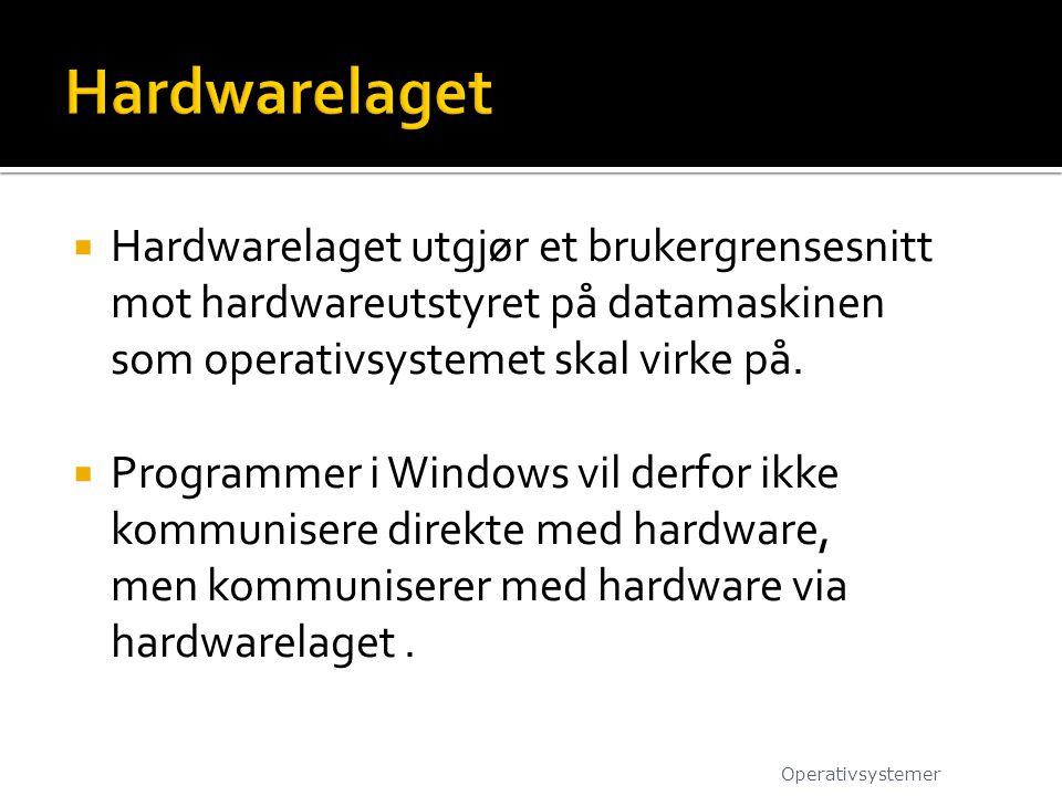  Hardwarelaget utgjør et brukergrensesnitt mot hardwareutstyret på datamaskinen som operativsystemet skal virke på.  Programmer i Windows vil derfor