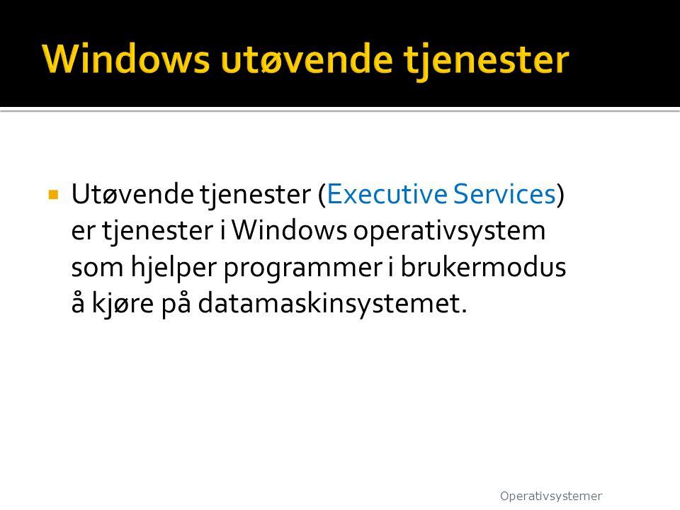  Utøvende tjenester (Executive Services) er tjenester i Windows operativsystem som hjelper programmer i brukermodus å kjøre på datamaskinsystemet. Op