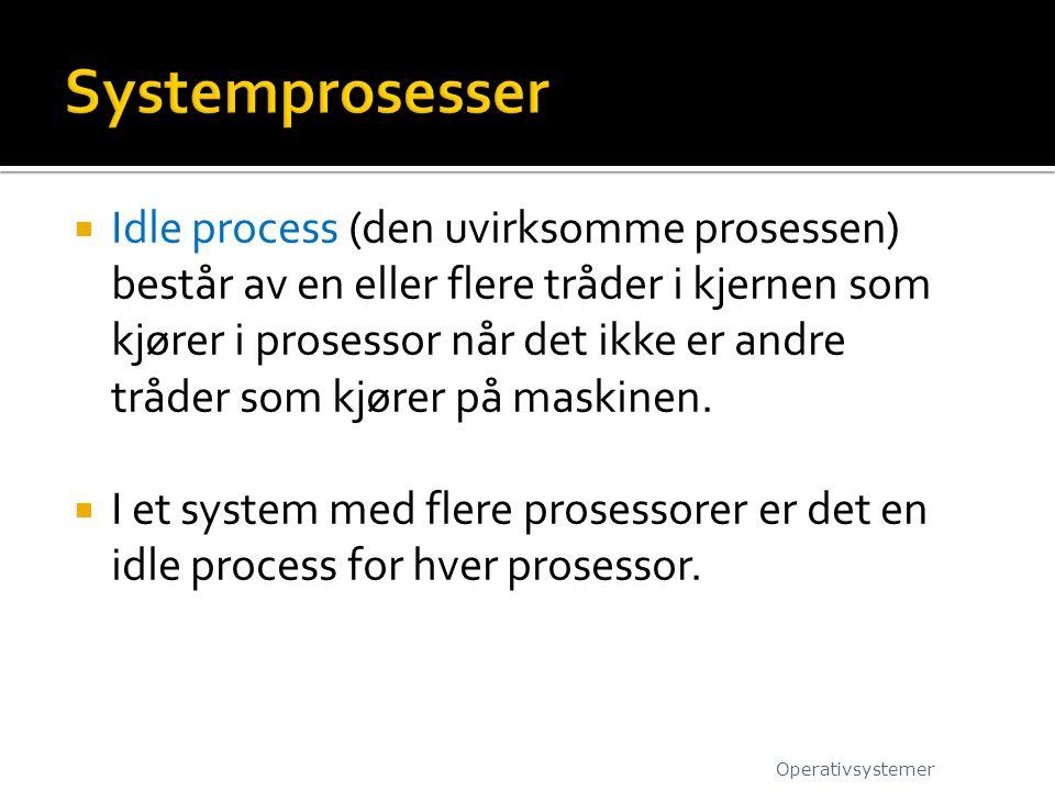  Idle process (den uvirksomme prosessen) består av en eller flere tråder i kjernen som kjører i prosessor når det ikke er andre tråder som kjører på