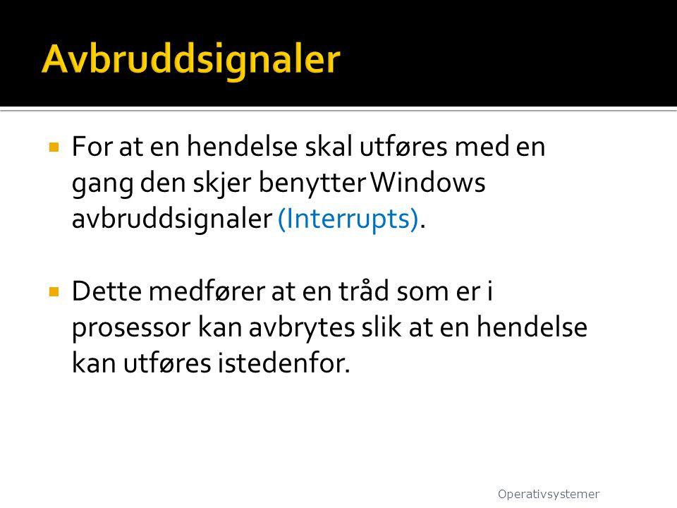  For at en hendelse skal utføres med en gang den skjer benytter Windows avbruddsignaler (Interrupts).  Dette medfører at en tråd som er i prosessor