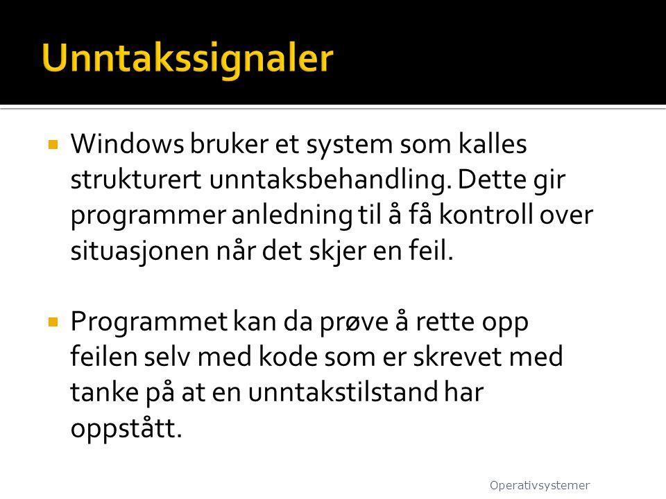  Windows bruker et system som kalles strukturert unntaksbehandling. Dette gir programmer anledning til å få kontroll over situasjonen når det skjer e