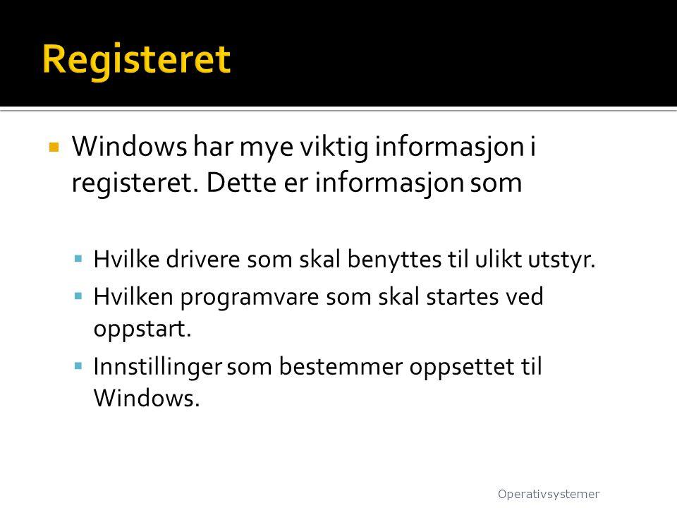  Windows har mye viktig informasjon i registeret. Dette er informasjon som  Hvilke drivere som skal benyttes til ulikt utstyr.  Hvilken programvare