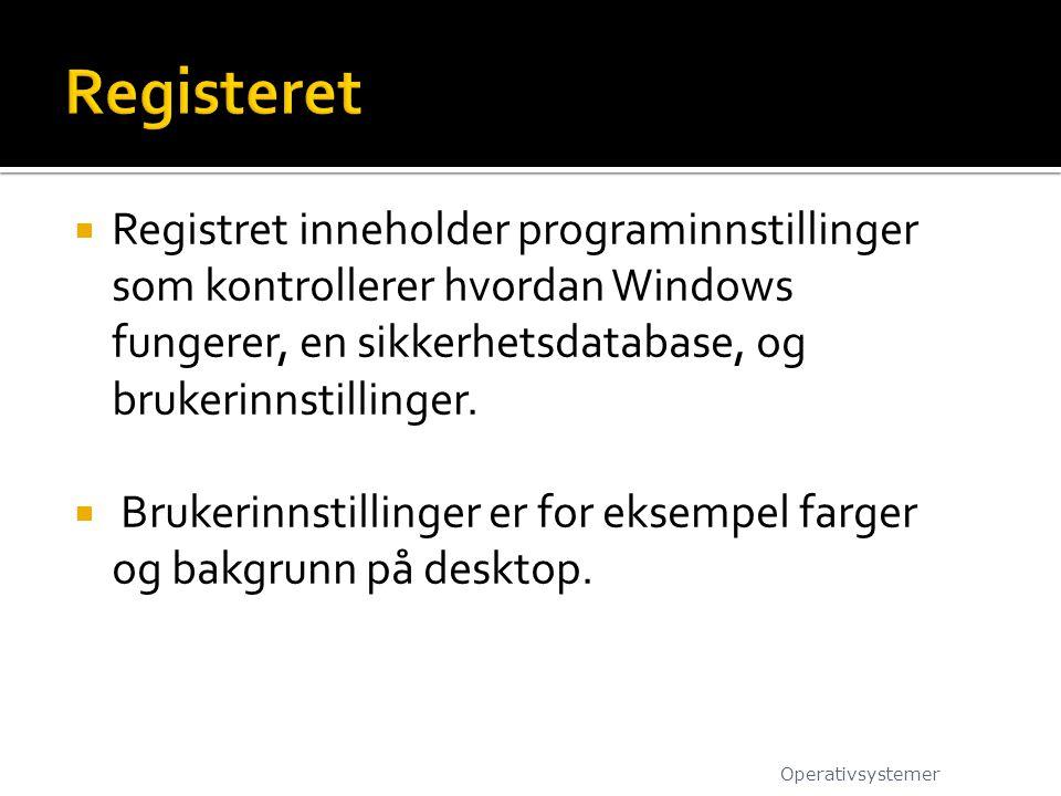  Registret inneholder programinnstillinger som kontrollerer hvordan Windows fungerer, en sikkerhetsdatabase, og brukerinnstillinger.  Brukerinnstill