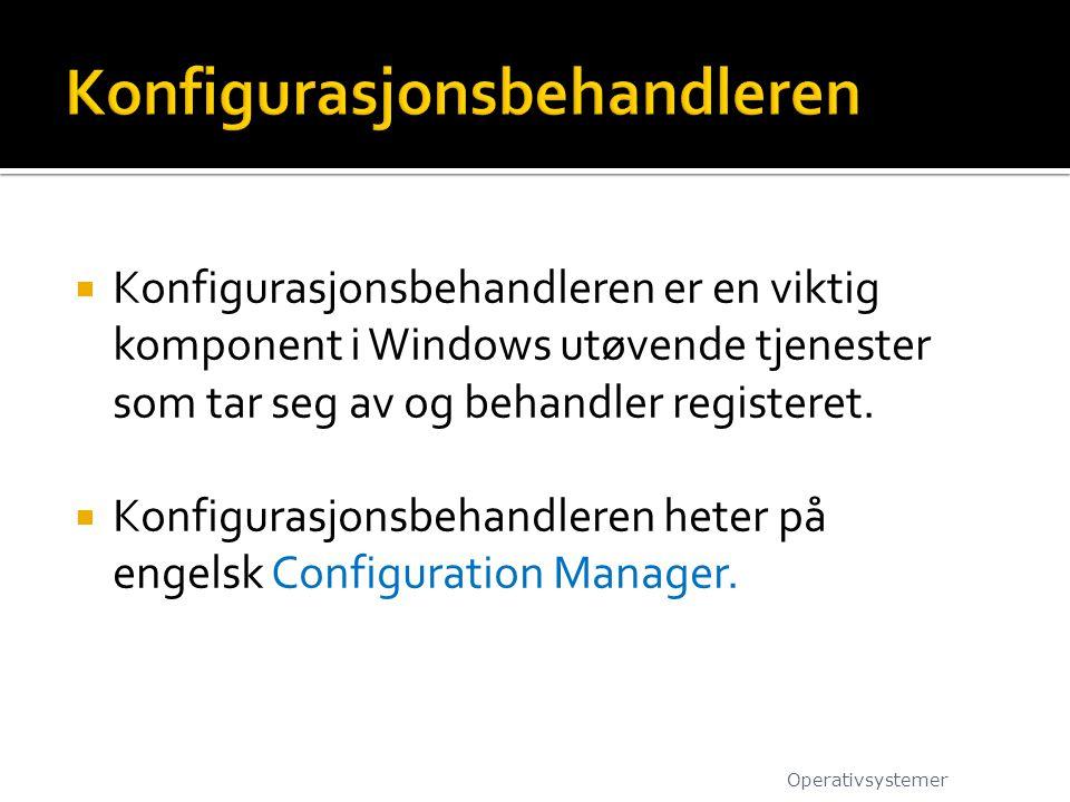  Konfigurasjonsbehandleren er en viktig komponent i Windows utøvende tjenester som tar seg av og behandler registeret.  Konfigurasjonsbehandleren he