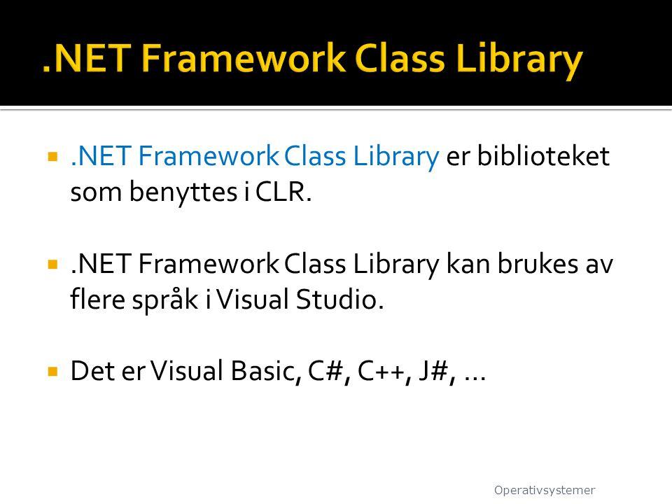 .NET Framework Class Library er biblioteket som benyttes i CLR. .NET Framework Class Library kan brukes av flere språk i Visual Studio.  Det er Vis