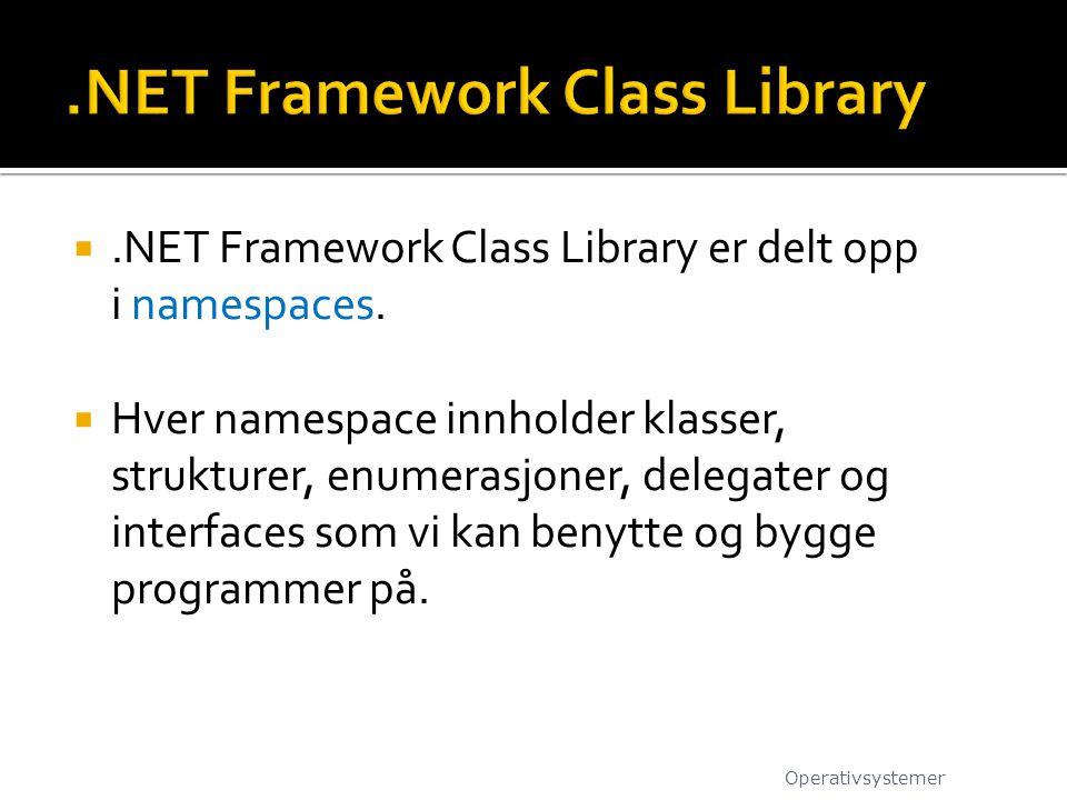 .NET Framework Class Library er delt opp i namespaces.  Hver namespace innholder klasser, strukturer, enumerasjoner, delegater og interfaces som vi