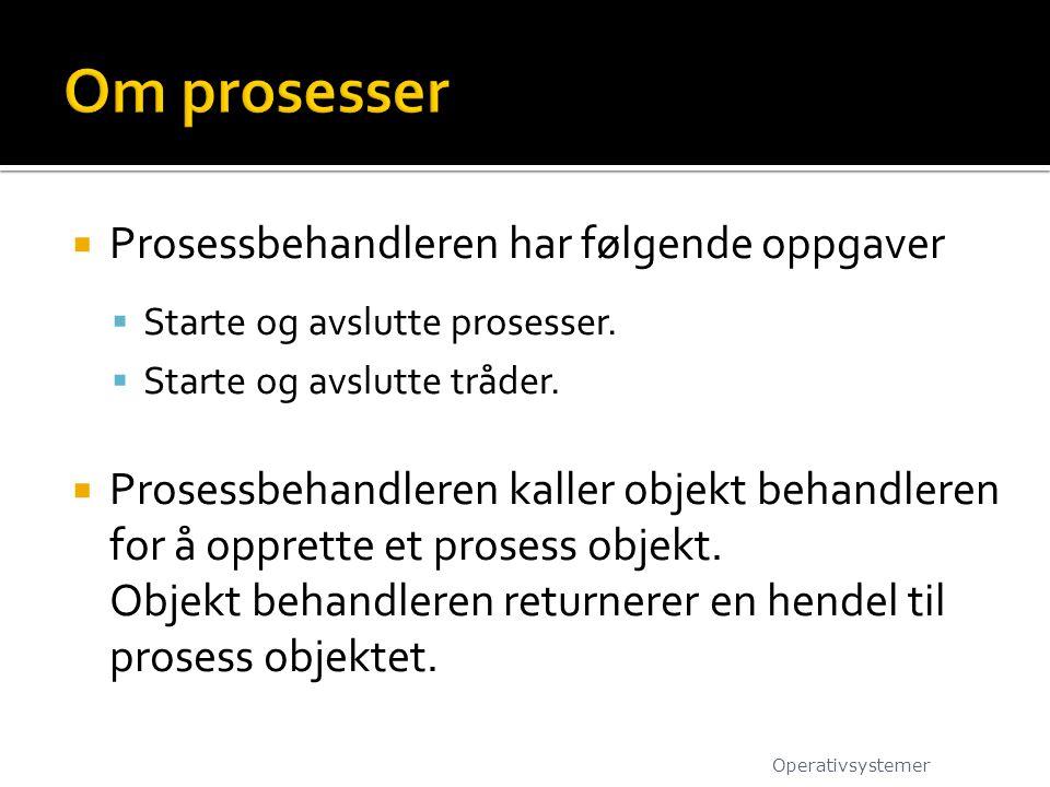  Prosessbehandleren har følgende oppgaver  Starte og avslutte prosesser.  Starte og avslutte tråder.  Prosessbehandleren kaller objekt behandleren