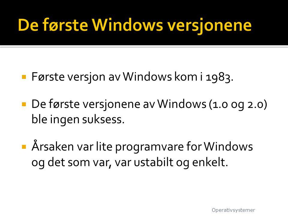  Første versjon av Windows kom i 1983.  De første versjonene av Windows (1.0 og 2.0) ble ingen suksess.  Årsaken var lite programvare for Windows o