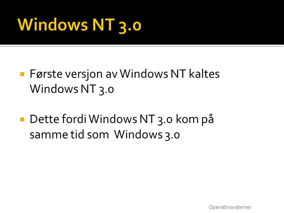  Første versjon av Windows NT kaltes Windows NT 3.0  Dette fordi Windows NT 3.0 kom på samme tid som Windows 3.0 Operativsystemer