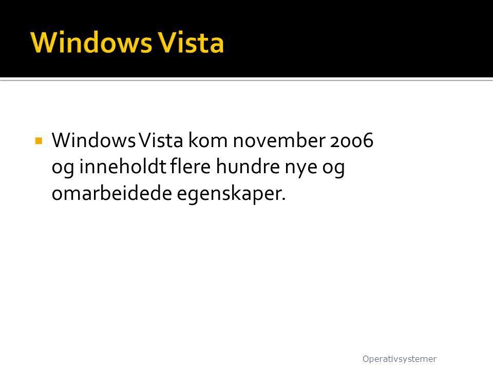  Windows Vista kom november 2006 og inneholdt flere hundre nye og omarbeidede egenskaper. Operativsystemer