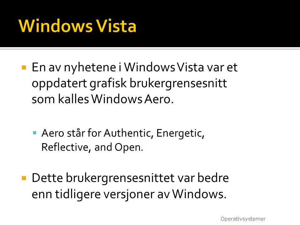  En av nyhetene i Windows Vista var et oppdatert grafisk brukergrensesnitt som kalles Windows Aero.  Aero står for Authentic, Energetic, Reflective,