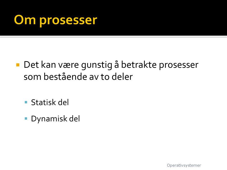  Den statiske delen av en prosess kan sees på som ressurser prosessen bruker på en datamaskin.