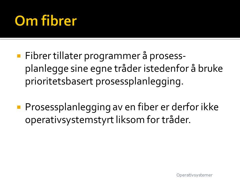  Fibrer tillater programmer å prosess- planlegge sine egne tråder istedenfor å bruke prioritetsbasert prosessplanlegging.  Prosessplanlegging av en