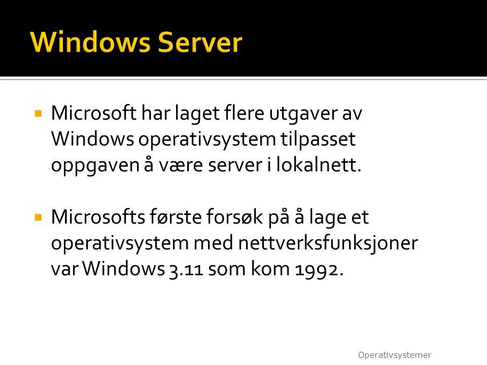  Microsoft har laget flere utgaver av Windows operativsystem tilpasset oppgaven å være server i lokalnett.  Microsofts første forsøk på å lage et op