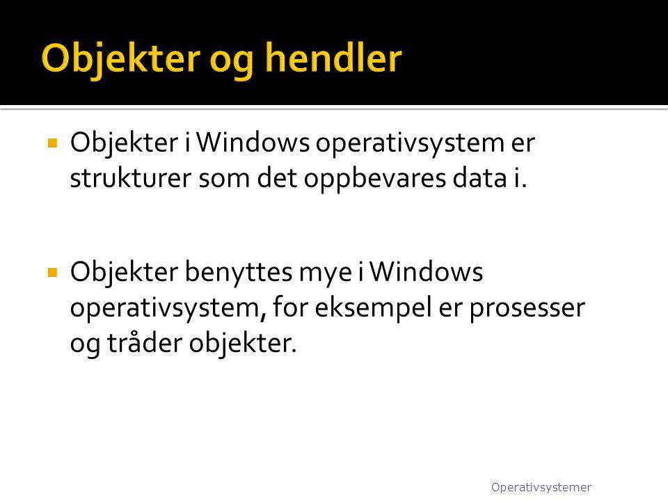  Objekter i Windows operativsystem er strukturer som det oppbevares data i.  Objekter benyttes mye i Windows operativsystem, for eksempel er prosess