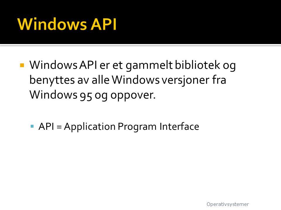  Windows API er et gammelt bibliotek og benyttes av alle Windows versjoner fra Windows 95 og oppover.  API = Application Program Interface Operativs