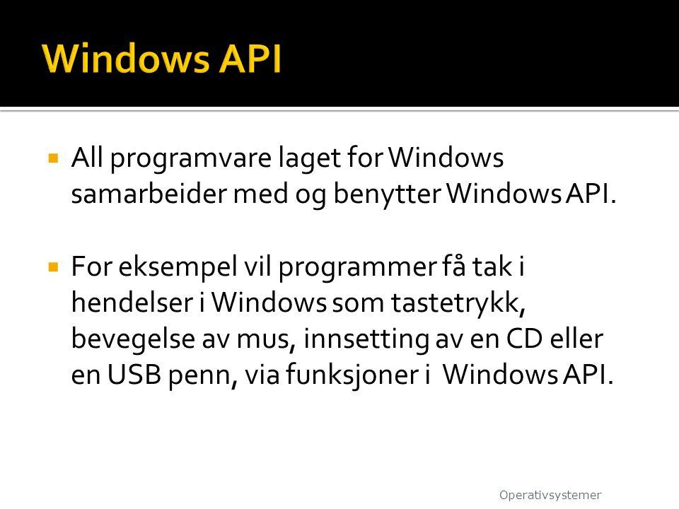  All programvare laget for Windows samarbeider med og benytter Windows API.  For eksempel vil programmer få tak i hendelser i Windows som tastetrykk