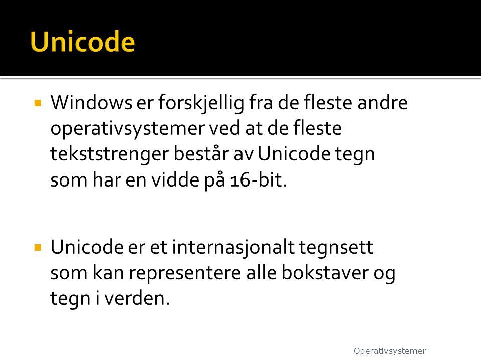  Windows er forskjellig fra de fleste andre operativsystemer ved at de fleste tekststrenger består av Unicode tegn som har en vidde på 16-bit.  Unic