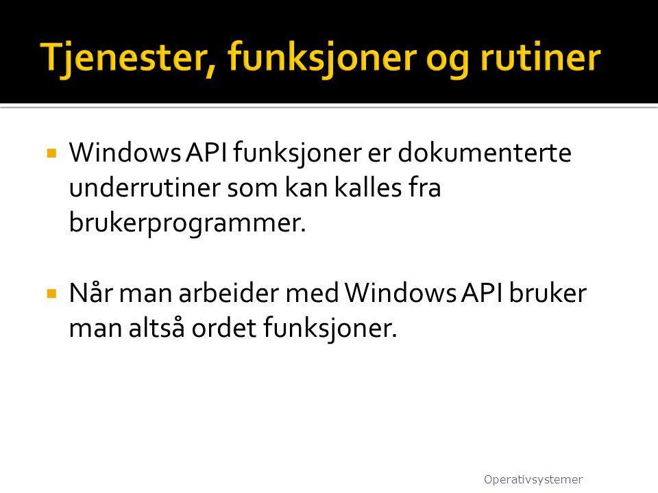  Windows API funksjoner er dokumenterte underrutiner som kan kalles fra brukerprogrammer.  Når man arbeider med Windows API bruker man altså ordet f