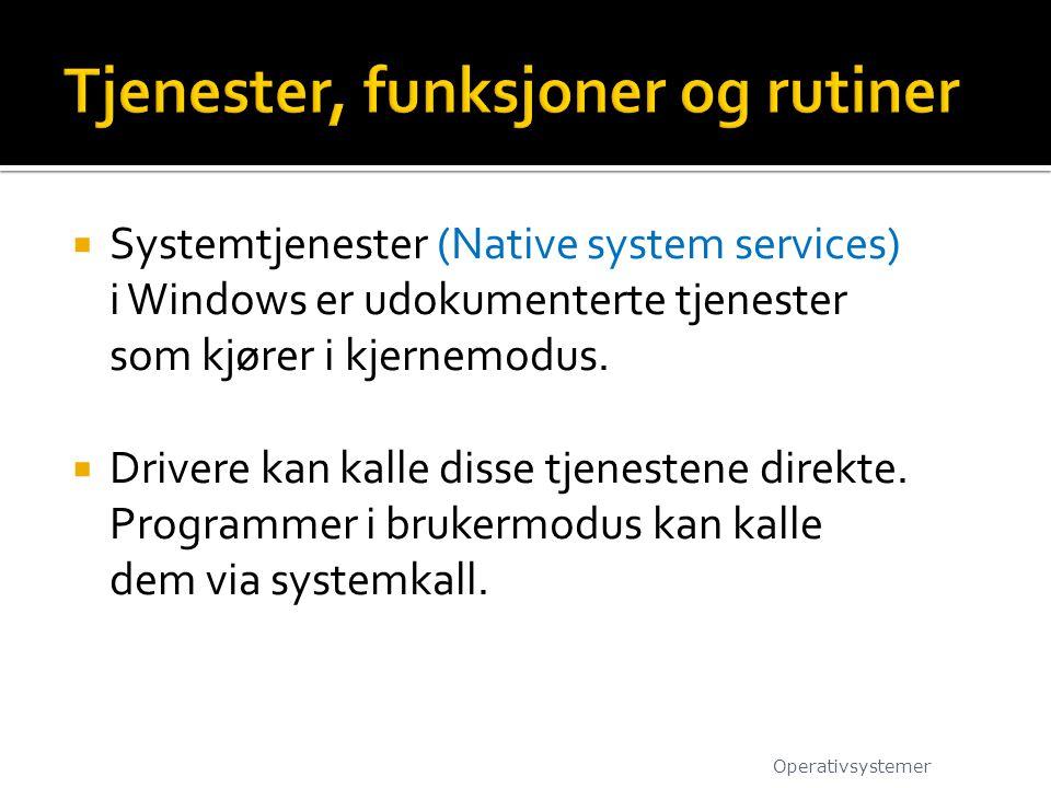  Systemtjenester (Native system services) i Windows er udokumenterte tjenester som kjører i kjernemodus.  Drivere kan kalle disse tjenestene direkte