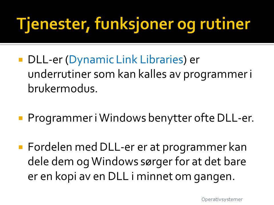  DLL-er (Dynamic Link Libraries) er underrutiner som kan kalles av programmer i brukermodus.  Programmer i Windows benytter ofte DLL-er.  Fordelen