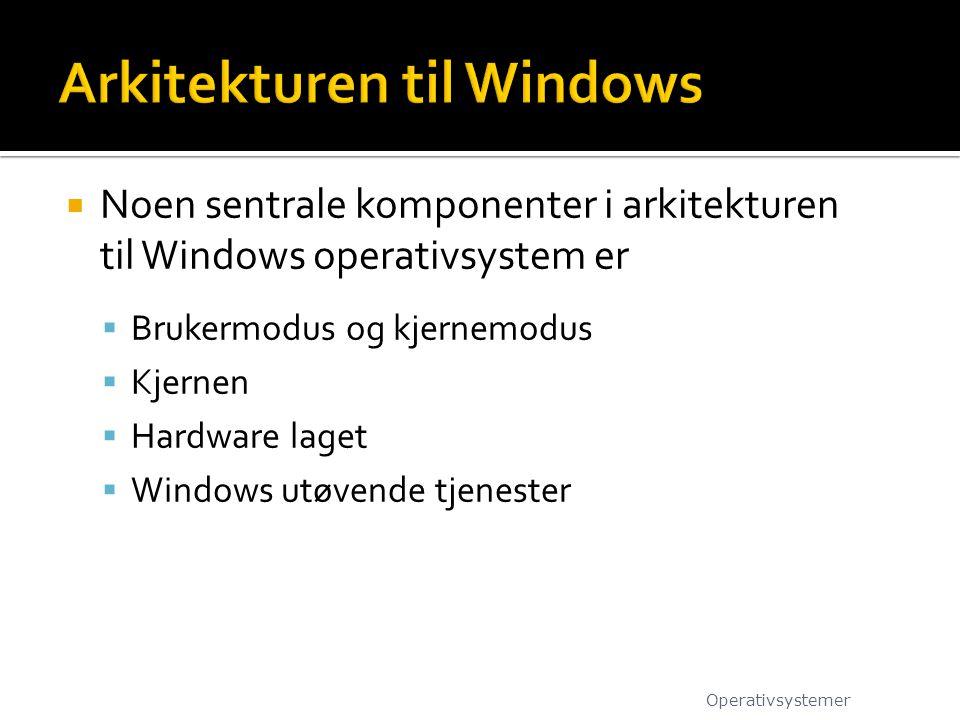  Noen sentrale komponenter i arkitekturen til Windows operativsystem er  Brukermodus og kjernemodus  Kjernen  Hardware laget  Windows utøvende tj