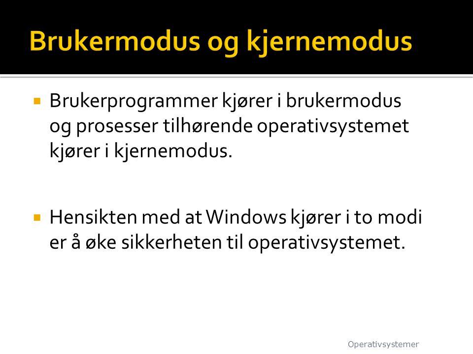  Brukerprogrammer kjører i brukermodus og prosesser tilhørende operativsystemet kjører i kjernemodus.  Hensikten med at Windows kjører i to modi er