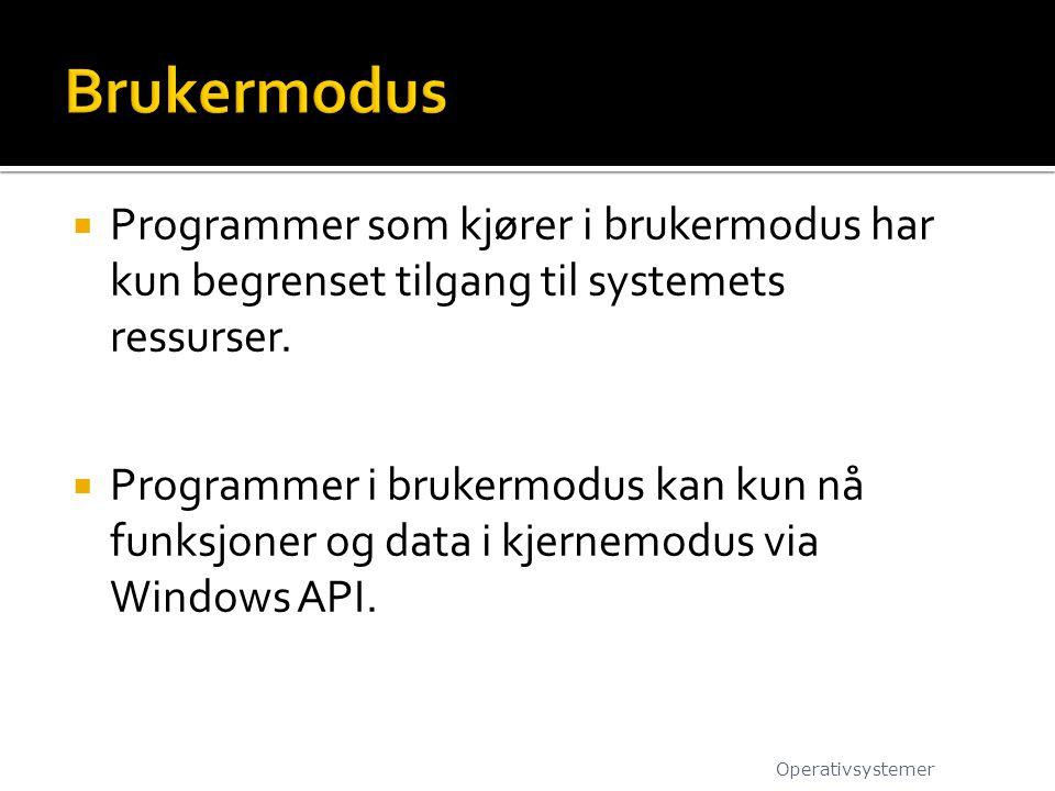  Programmer som kjører i brukermodus har kun begrenset tilgang til systemets ressurser.  Programmer i brukermodus kan kun nå funksjoner og data i kj