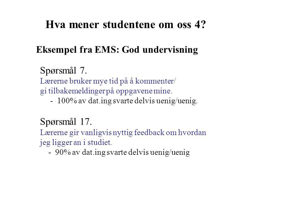 Hva mener studentene om oss 4? Spørsmål 7. Lærerne bruker mye tid på å kommenter/ gi tilbakemeldinger på oppgavene mine. - 100% av dat.ing svarte delv