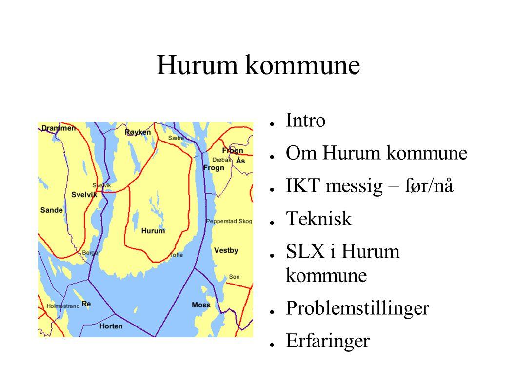 Hurum kommune ● Intro ● Om Hurum kommune ● IKT messig – før/nå ● Teknisk ● SLX i Hurum kommune ● Problemstillinger ● Erfaringer