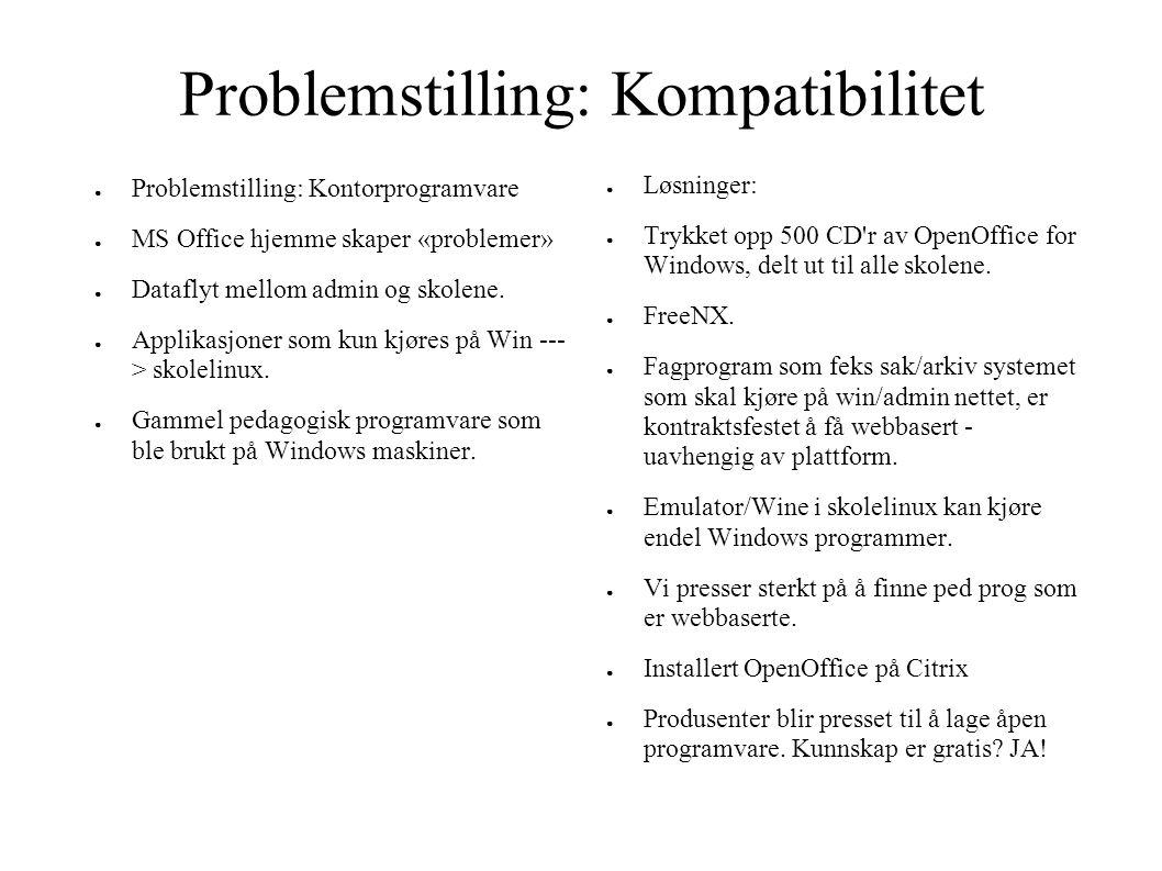 Problemstilling: Kompatibilitet ● Problemstilling: Kontorprogramvare ● MS Office hjemme skaper «problemer» ● Dataflyt mellom admin og skolene. ● Appli