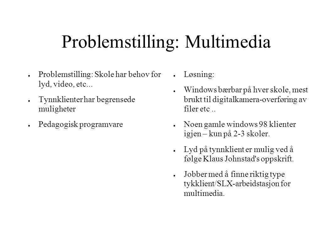 Problemstilling: Multimedia ● Problemstilling: Skole har behov for lyd, video, etc... ● Tynnklienter har begrensede muligheter ● Pedagogisk programvar