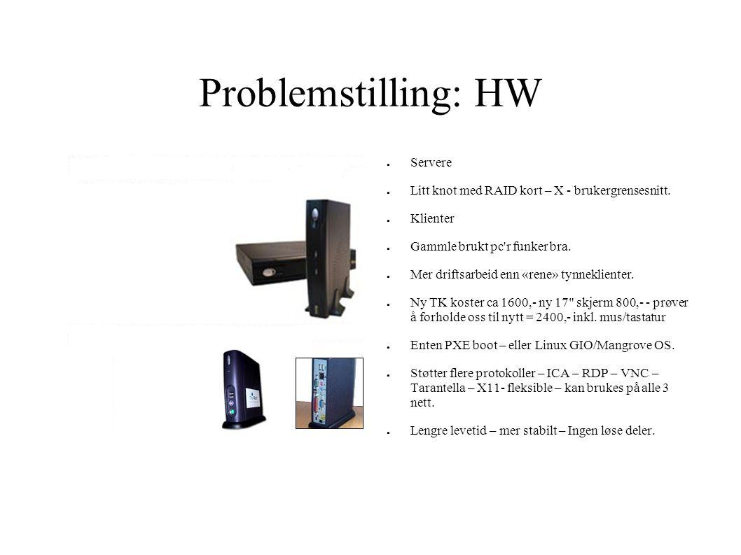 Problemstilling: HW ● Servere ● Litt knot med RAID kort – X - brukergrensesnitt. ● Klienter ● Gammle brukt pc'r funker bra. ● Mer driftsarbeid enn «re