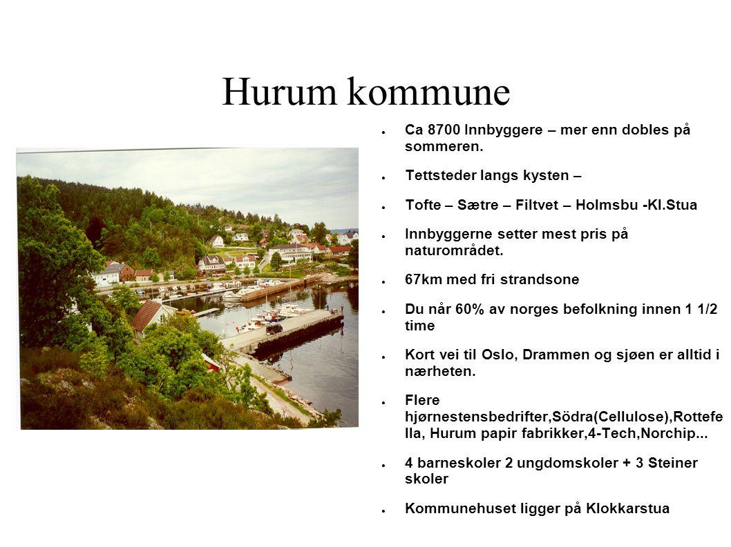 Hurum kommune ● Ca 8700 Innbyggere – mer enn dobles på sommeren. ● Tettsteder langs kysten – ● Tofte – Sætre – Filtvet – Holmsbu -Kl.Stua ● Innbyggern